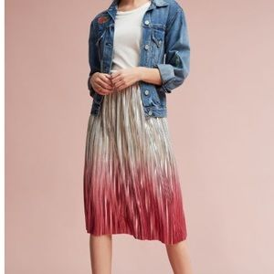 Metallic Ombré Midi Pleated Skirt